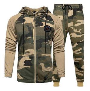 Camouflage Männer 2PCS Tracksuits Frühling und Herbst dünne Strickjacke mit Kapuze Sweatshirts Lange Hosen-Satz-beiläufige Homme Zweiteilige Anzüge