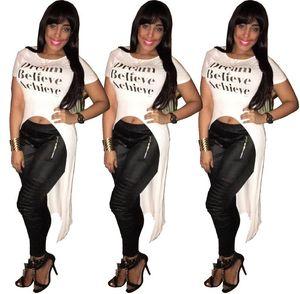 Nuevo diseño Carta impresa mujer blanco manga corta camiseta delantera corta espalda larga cola Tops Tees Summer Lady moda camisa irregular vestido