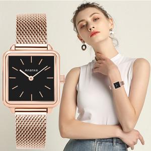 Часы Ananke Роскошная марка Женщины вскользь кварцевые часы Дамы браслет часы Мода из нержавеющей стали Uhr часы 2019