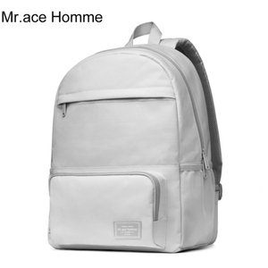 Mr.ace Homme White Laptop Backpack Women Waterproof Polyester School Backpack For Girl Student Bag Boy Travel Bagback Men