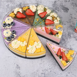 Triangle Shaped Cheese Mousse Cake Box Clear Plastic Dessert Packing Boxes Slice Small Pastry Cake Baking Box