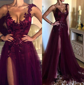 Elegant Grape Purple Lace A Line Split Prom Dresses 2020 Formal Women Holiday Wear Celebrity Party Evening Gowns Plus Size Custom Made
