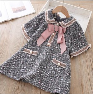 Girls Fall Dress Pearl Bow Plaid Dress For Girls Fashion High-grade Kids Party Dresses Sweet Princess Costume 2 3 4 5 6 7 Year T200709