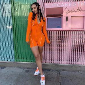 2020 Новый Светоотражающие сращивания Sexy Комбинезон лета женщин Zipper Тонкий Bodycon Комбинезон женский Elegance с длинным рукавом тела женщин Спортивная одежда