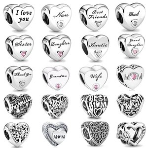 free shipping mom sister daughter dad nan wife grandma love european bead fit Pandora charms silver 925 Bracelet jewelry for women N003
