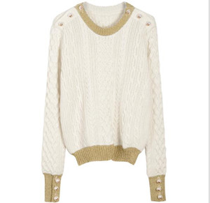 Moda-2019 Branco mangas compridas Celebrity Style Camisolas ombro Botão Side Slit Marca Same estilo pulôver Mulheres DH334
