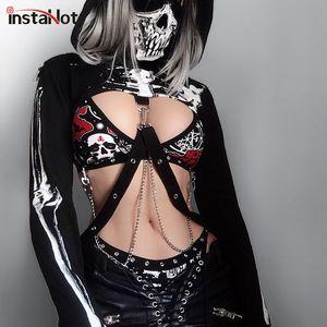 InstaHot Gothic Punk Hooded Hoodies Women Black Skeleton Print Mask Long Sleeve Crop Tops 2019 Fashion Halloween Top Sweatshirt Y200706