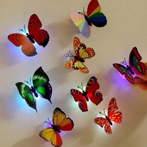 Borboleta 3D LED Wall Stickers Night Light Lâmpada de incandescência decalques Adesivos de parede casa decoração partido Home Desk Wall Decor outubro # 3