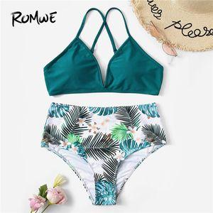 Armadio Sport Bikini Set Hot Flower High West Bottom Due pezzi Suit Sesso femminile Estate Shui Dai 3 colori Y19062801