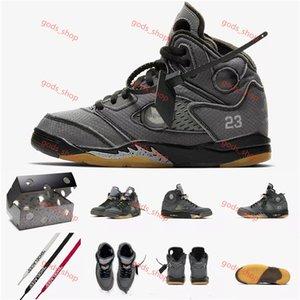 Air Jordan 5 xoff white AJ5 ow 3M Nouveau Chaussures de basket-ball Hommes Off 5 5S sport blanc formateurs chaussures de sport de haute qualité Hococal 40-45