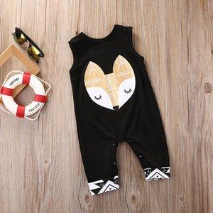 Newborn Kid Baby Boy Girl Romper Sleeveless Cartoon Fox Printed Black Jumpsuit Baby Clothes Outfit
