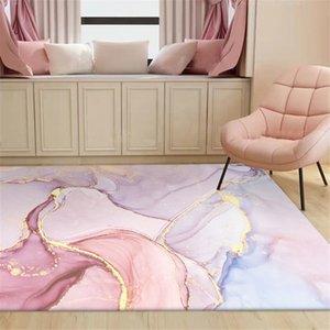 Wishstar rosa Oil ouro pintura abstrata Meninas tapete da sala romântico do roxo 3D Tapetes Quarto Ao lado Tapete Varanda Rug Salão Mat T200518