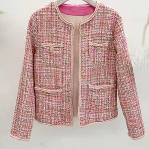 Hamaliel más mujeres del tamaño Pink Tweed capa de la chaqueta de pista otoño invierno de manga larga abierta de la puntada de la armadura de la manera de vestir exteriores femenina