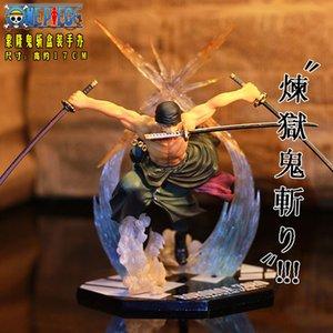 Janpanese Anime Un PiecePOP Roronoa Zoro action PVC Figure Toy Zoro Modèles réduits Collections 17cm, One Piece Zoro Action Figure T200618