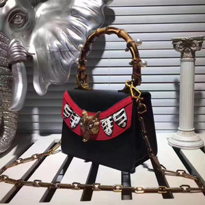 moda Fox diseñadores de cabeza bolsos de diseño-nuevas marcas nombres bambú manijas remaches de metal del cuero genuino de la cadena hermosa bolsas de mensajero
