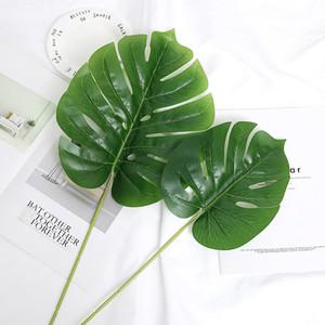 4pcs Artificial Grünpflanze Latex Schildkröte Leaves Branch Heim Dekorative Hochzeit Blumen-Wand-Hintergrund Tropical Gefälschte Pflanzen Blatt