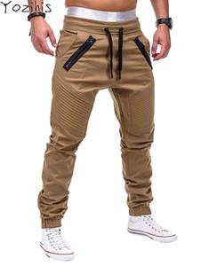 Yozihis Mode Homme Zipper Agrémentée Taille Élastique Jogger Pantalon Mâle Décontracté Solide Multi-poche Hip Hop Pant Pantalon Décontracté Y19060601