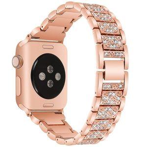 Faixa de relógio de luxo para a apple watch band 44mm 40mm 38/42mm mulheres faixas de diamantes da série iwatch 4 3 2 1 pulseira de pulso pulseira de relógio de aço inoxidável