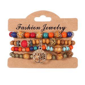 4pcs / Lot Vintage Tree of Life pulseras con dijes para mujeres Cuentas de madera de madera cadenas de elasticidad Brazalete Joyería bohemia de moda