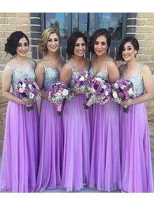 Novas Lilac Vestidos baratos da dama de honra baratos para casamentos vestido Visitante Spaghetti Chiffon Silver Cristal Beading Maid Formal de honra Vestidos