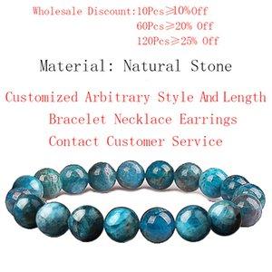 Women Men Fashion Natural Stone Blue Kyanite Beads Elastic Bracelet Healing Bracelet Jewelry Gifts 4 6 8 10 12mm