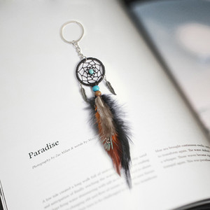 Mini Dreamcatcher Keychain Car Hanging Handmade Vintage Enchanted Forest Dream Catcher Net Key Chain With Feather Decoration Ornament