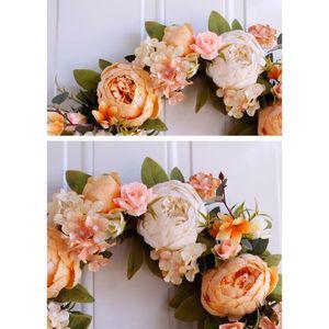 1pc Fake Flower Wreath Artificial Peony Flowers Wreath Garland Home Wedding Flower Arrangement Decor Decoration