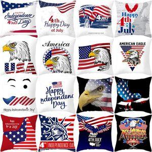 45 * 45 cm Funda de almohada del Día de la Independencia Americana Funda de almohada para sofá Bandera de EE. UU. Funda de cojín con decoración para el hogar impresa HHA602