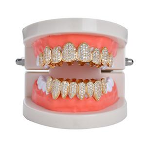 Nuevo Hip hop dientes diente grillz cobre zircon cristal dientes grillz Dental Grills Regalo de joyería de Halloween al por mayor para rap rapper hombres