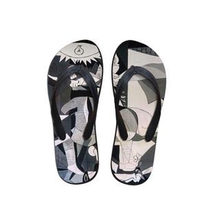 Summer Beach Flip Flops Mulheres Chinelos Sandálias Pintura Impressão artística Lady Flats Shoes Designer Pablo Picasso artista mestre peça
