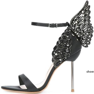 Hot Sale-Sophia Webster Design Women Butterfly High Heels Patchwork Evangeline Sandals Prom Dress Stilettos Celebrity Party Sandals