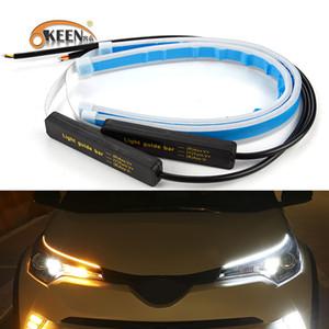 OKEEN 2x Ultrafine Otomobil DRL LED Gündüz Işıklar Beyaz Far Montaj Drop Shipping için Sinyal Sarı Kılavuzu Strip çevirin Running