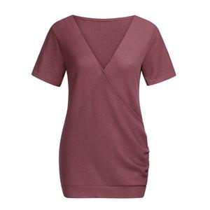 Nursing Top estate delle donne con scollo a V L'allattamento al seno Elegante Casual maglietta Tees Solid incinta vestiti di maternità Ropa embarazada 19May