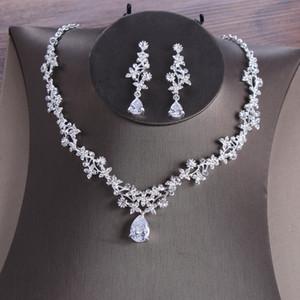 결혼식 신부 귀걸이 목걸이 2019 신부 보석은 빛나는 모조 다이아몬드를 설정 Mori 소녀 파티 공식 파티 Qunice 착용 보석 세트 45cm