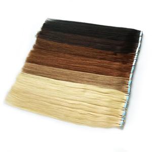 Band in Haar-Verlängerungen 100% Remy Menschenhaar-Doppelseitiges Klebeband Nahtlose Skin Weft natürliche Haarverlängerungen 40pcs lange Gerade Silky für Frauen