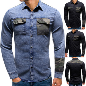 Designer Mens Shirt Patchwork Pocket Slim Fit Denim Jeans Chemise homme Mode haute qualité Chemises Manteau Hommes Streetwear