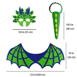 Wholesale-Green Dinosaur Tail Wing Mask Funny Boys Costumes Brave Pretend Play Child Dress Up Animal Halloween Party Cosplay