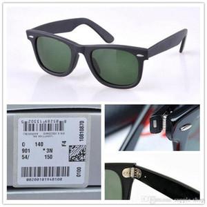 Gafas de sol Plank de alta calidad Marco negro Lentes verdes Gafas de sol con bisagras de metal Para mujer para hombre Gafas de sol 2140 Wayfarers Gafas de sol