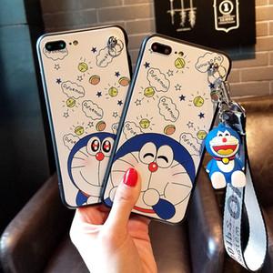 Mignon iPhone 7 Cartoon téléphone portable Coque Convient pour Apple 6S Doraemon et Hanging Femme corde Support Shell