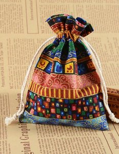 DHL Tibet Stripe Linen Gift Bags Travel Organizer Storage Bag Vintage Jewelry Drawstring Pouch nd Event Party Supplies 10*14cm