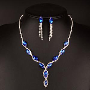Gümüş Kaplama Royal Blue Kristal Düğün Takı Seti Kadınlar Yaprak Püskül Uzun Kolye Küpe Gelin iki parçalı Takı Setleri