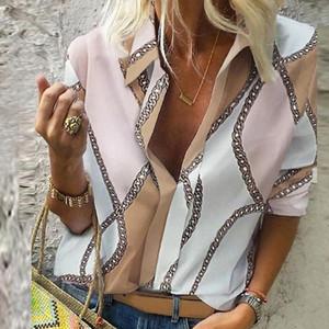 Zincir Baskı Bluz ve Gömlek Kadınlar Uzun Kollu Vintage Gömlek Kadınlar Plus Size En 5XL Bahar 2020 için Tops ve Bluz Womens