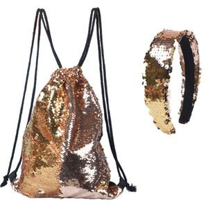Sac à dos en plein air sac à cordon + bande de cheveux paillettes sac à dos paillettes sport réversible épaule sac de voyage corde tirant le sac