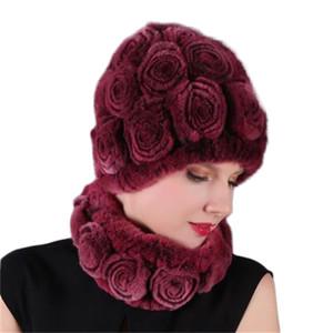 headgear atkı seti tavşan saç şapka kış kalite şönil yumuşak kapak eşarplar renkli ücretsiz boyut yetişkin gül