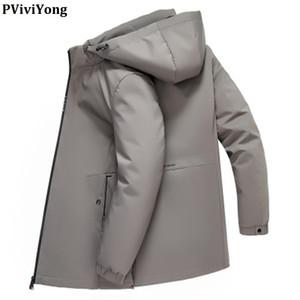 PViviYong 2019 зима высокое качество 90% белый пуховик длинный с капюшоном съемный шлем мужчин пальто плюс размер M-7XL MDYR19D1931