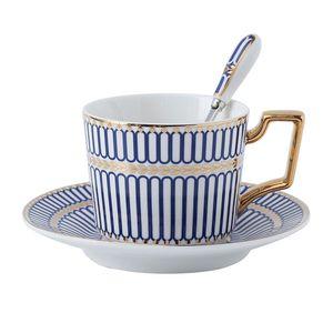 Exportação de osso Inglês China Porcelana Jogo de Chá Xícara De Café Pires Colher Set High-end Xícara De Espresso