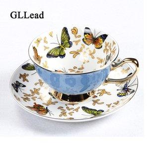 GLLead Bone China чашки кофе наборы Красочные бабочки керамические чайные чашки и блюдца Британский офис Teacup Фарфор хороший подарок T191026