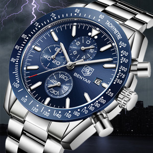 2019 Men Watch BENYAR top in acciaio completa Business orologio al quarzo casual impermeabile Orologi sportivi Orologio Relogio Masculino