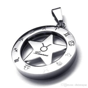 Cool Mens & Womens Stainless Steel Fashion Circular Jewelry Hollow out Pentagram Spinner Zodiac Necklace Taurus steel pendant with chain