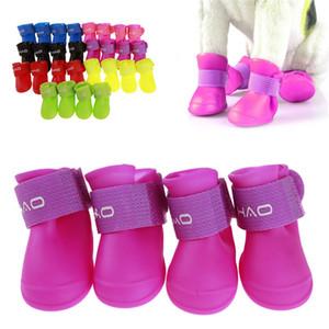 4 PC / 7 colores del zapato del pie del perrito de protección Zapatos del perro del gato impermeable antideslizantes Suministros botas de lluvia Pet S-2XL